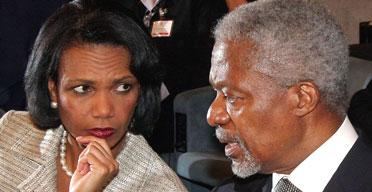 Condoleezza Rice and UN Secretary General Kofi Annan at Rome Summit