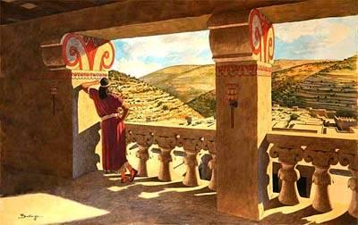 King David looking down Kidron Valley