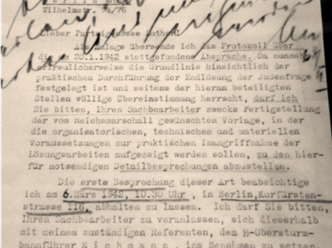 Letter during the Wannsee Conference seeking to Implement the Final Solution to the Jews