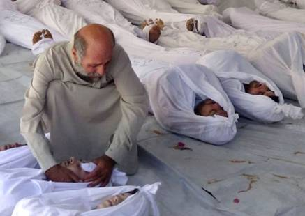 Mourning for a Dead Loved One in Syria from a Chemical Weapon
