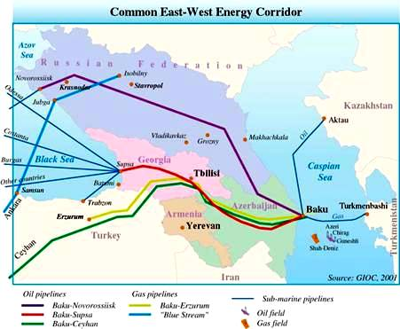 Oil and Gas East-West Energy Corridor from the Caspian to the Mediterranean Sea