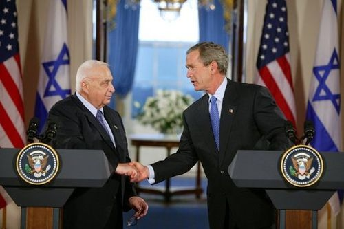 Ariel Sharon and  George W. Bush