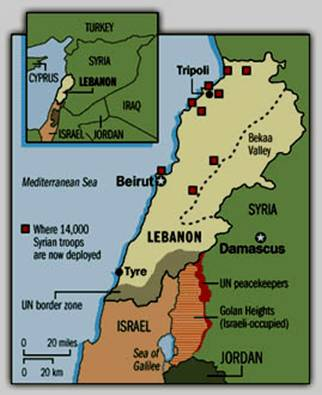 Location of Syrian Troops in Lebanon in 2004