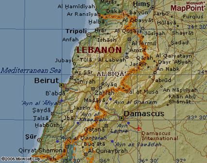Map of Al Biqā' (Bekáa Valley), Lebanon