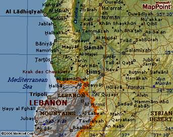 Map of the Northern Border of Lebanon and Syria