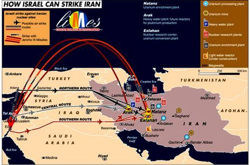 Israel Strike Routes on Iran