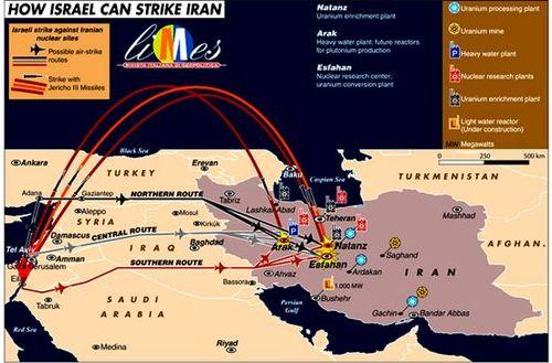 Israel Strike Routes on Iran