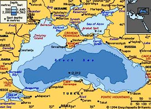Black Sea fed by three main rivers, Don, D(a)nieper, and the D(a)niester on the north and the Danub