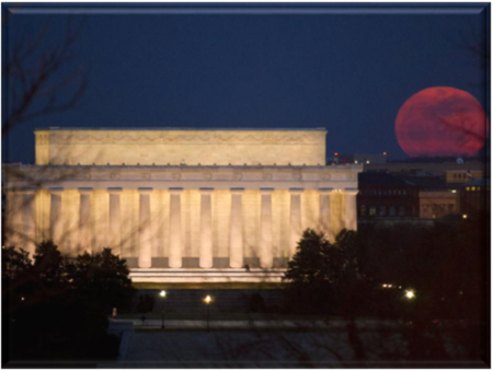 Blood Super Moon by Washington's Lincoln's Memorial
