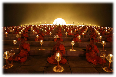 Buddhist Monks Lantern Lighting Ceremony in the Dhammakaya Temple