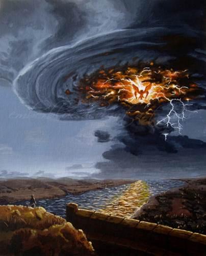 Vision of the Prophet Ezekiel along River Chebar with G-d's Merkabah