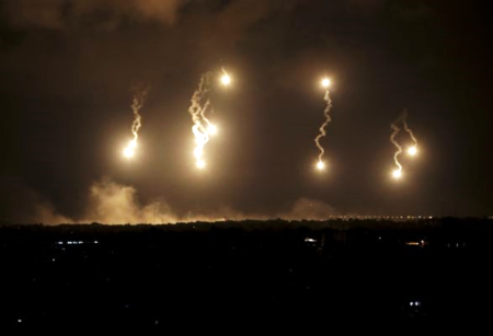 Israeli flares light up Gaza in War