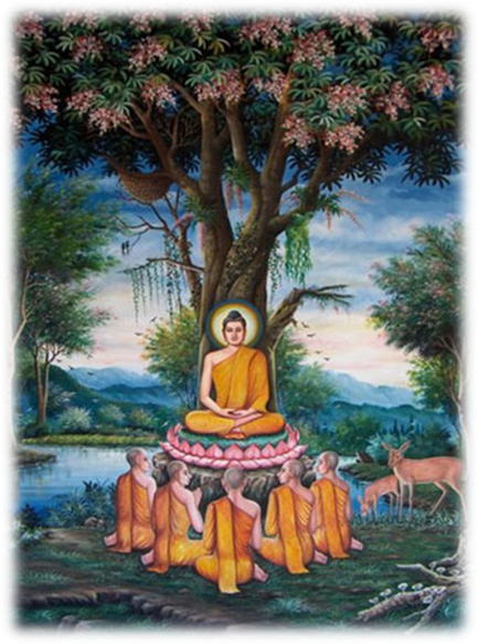 Prince Siddhartha and Five Disciples at Deer Park