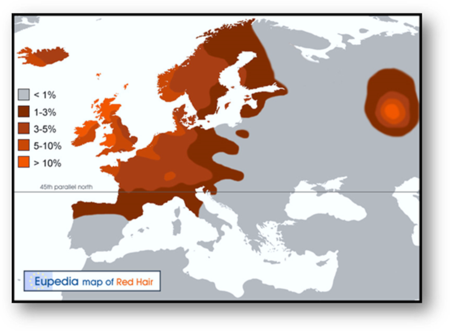 Eupedia Map of the Distribution of Red Hair with  Map of Y-Haplogroup R1b in Europe