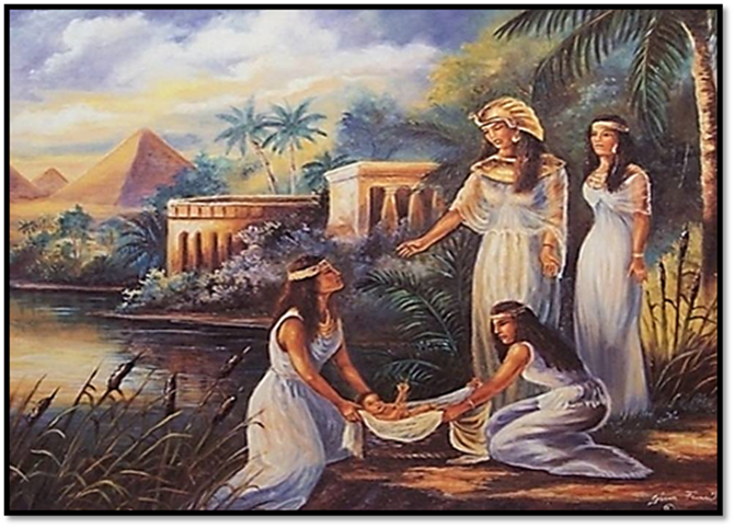 Pharaoh's Daughter discovering Moses in the Nile River
