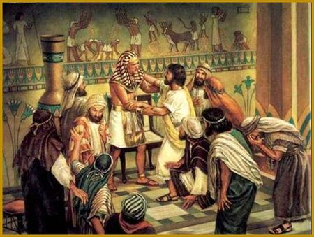 Egyptian Vizier Joseph greets Judah and his Brothers