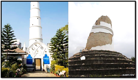 Dharahara Tower (Bhimsen Tower) before and after the earthquake