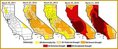 5 Year U.S. Drought Monitor map, California 2015