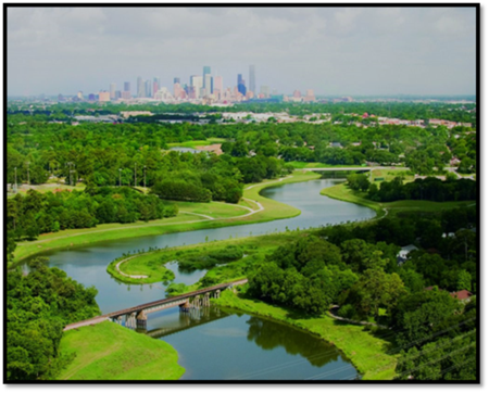 Winding Braes Bayou across the Street from United Orthodox Synagogue