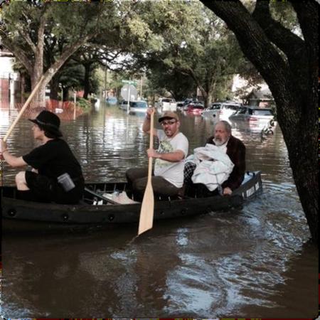 Rescue team transporting the Aged Rabbi Joseph Radinsky