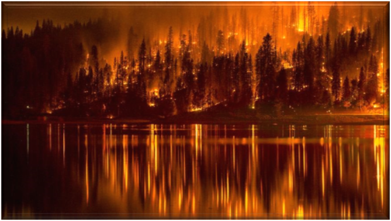 Fires at Bass Lake near Yosemite National Park