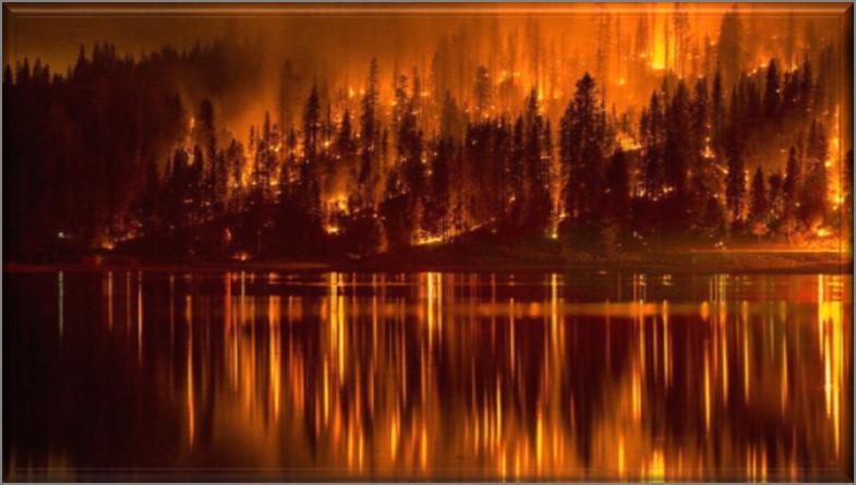 Fires at Bass Lake near Yosemite National Park