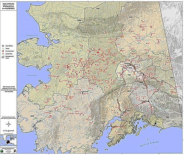 Alaskan Map with 319 active Fires burning in June 2015