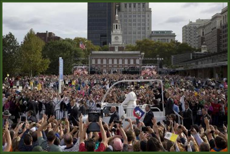 Pope Francis at Independence Hall Philadelphia