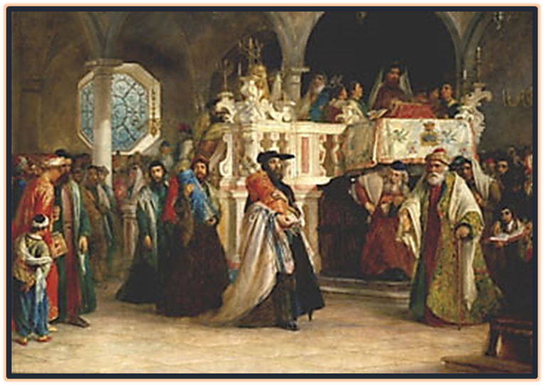 Feast of the Rejoicing of the Law at the Synagogue in Livorno, Italy