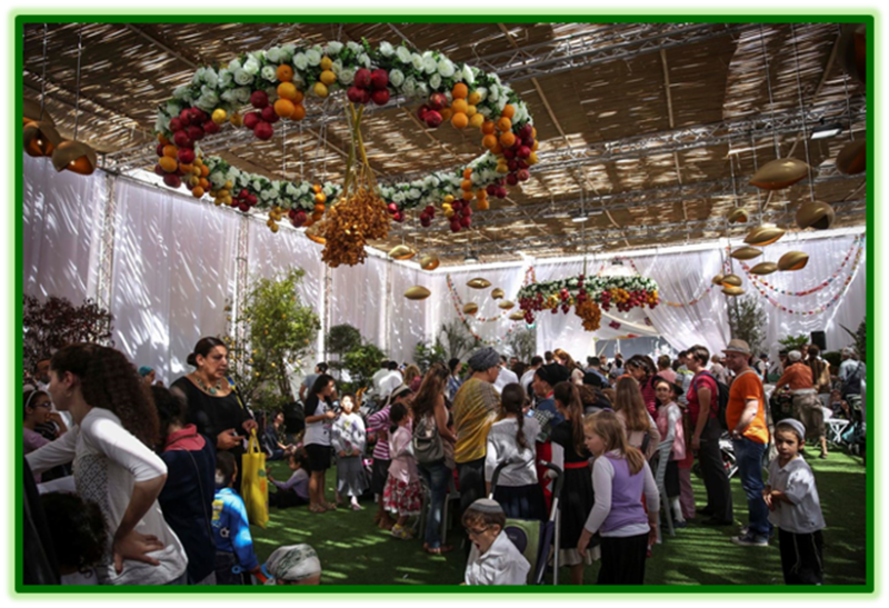 Celebrating Sukkah at the Safra Square in Jerusalem