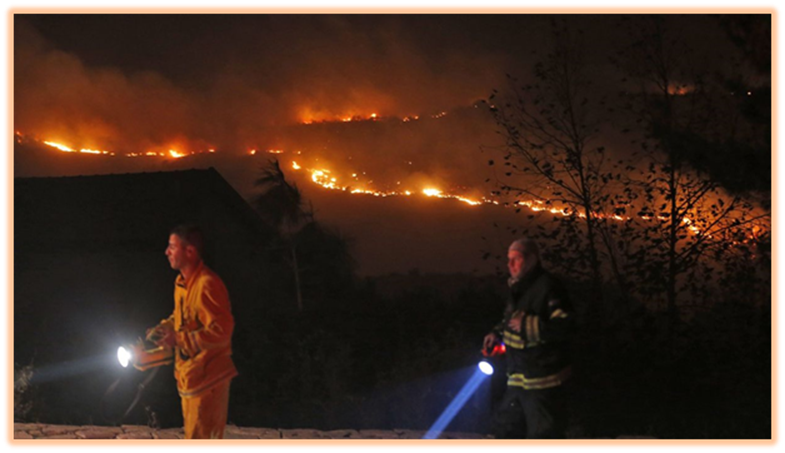 Raging Fires long the Ridges near Nataf in Shomron