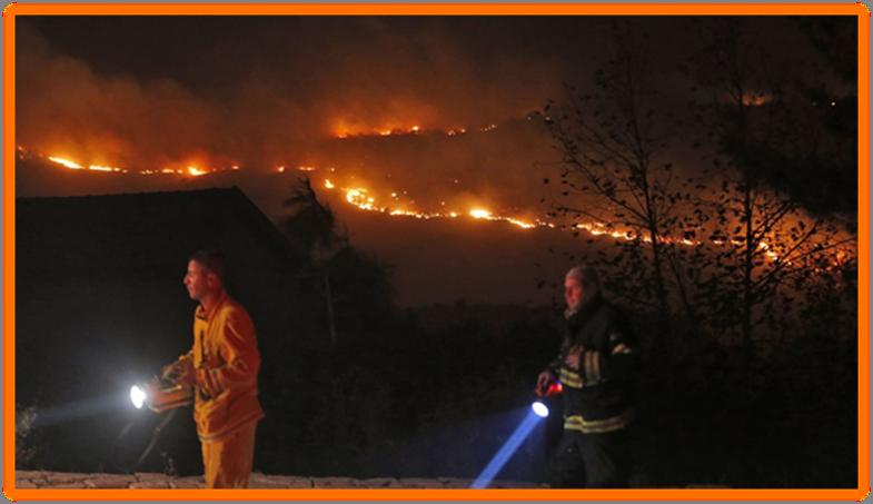 Raging Fires long the Ridges near Nataf in Shomron