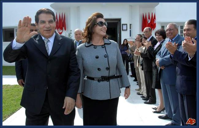 Tunisian president Zine El Abidine Ben Ali with wife  Leila Trabelsi