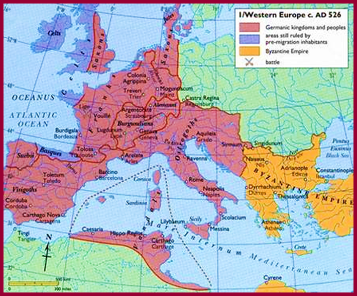 6th century Map shows Germanic Gothic Tribes