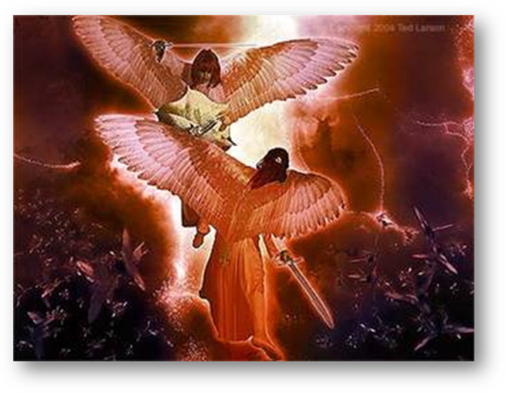 Prince Michael fighting with Lucifer as he is cast out of Heaven