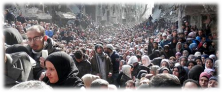 Syrian Palestinians waiting for dwindling Food Rations