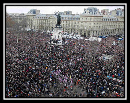 "Parisian ""Unity March"" at the Parisian Square, Place de Republique"