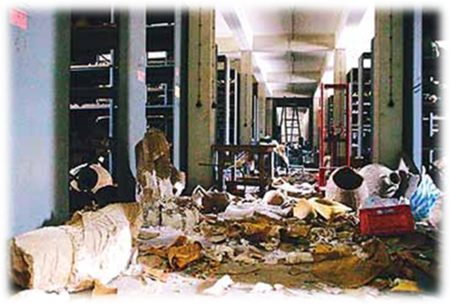 Destruction in the Baghdad National Museum during the 2003 Gulf War