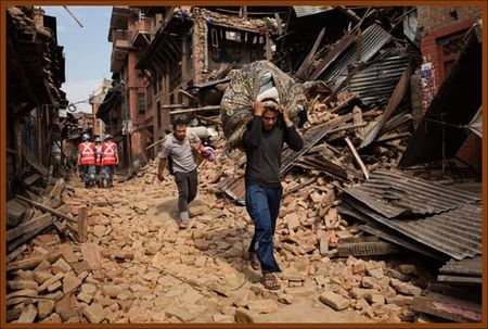Nepalese struggle during the 2015 Nepal Earthquake