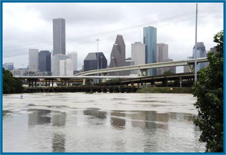 Houston Shavuot Flood dumping 12 inches of Water on Buffalo Bayou