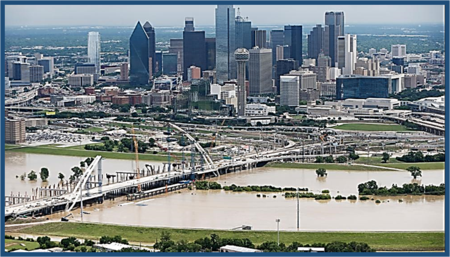 Trinity River is seen in an aerial photo just west of downtown Dallas, Friday, May