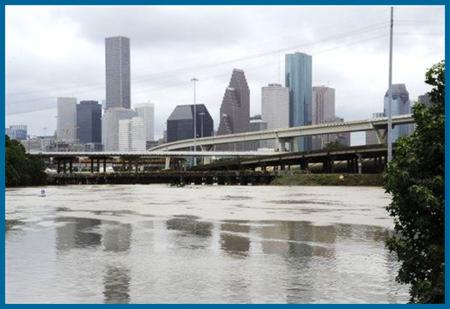 Houston Shavuot Flood dumping 12 inches of Water on Buffalo Bayou