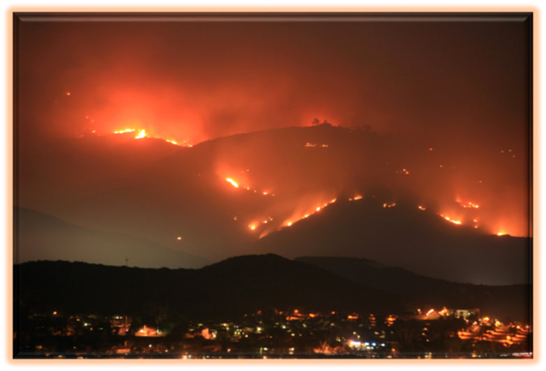 Forest Fires cascading across the Mountains in the Pacific West