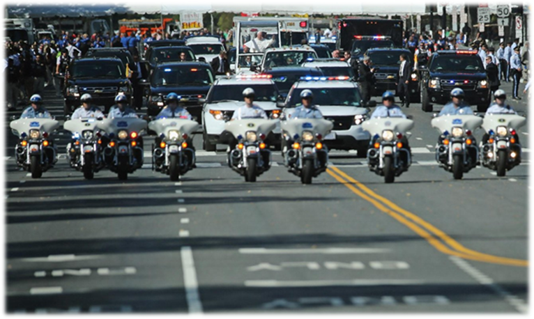 The Motorcade of the Popemobile in Washington