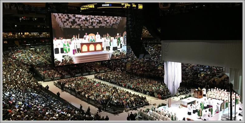 Pope Francis celebrating Mass at Madison Square Garden