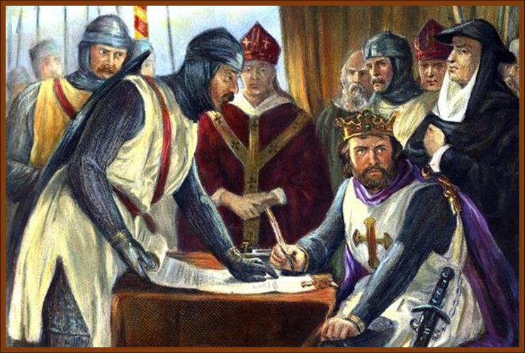 Irritated King John signs Magna Charta in front of 25 English Barons