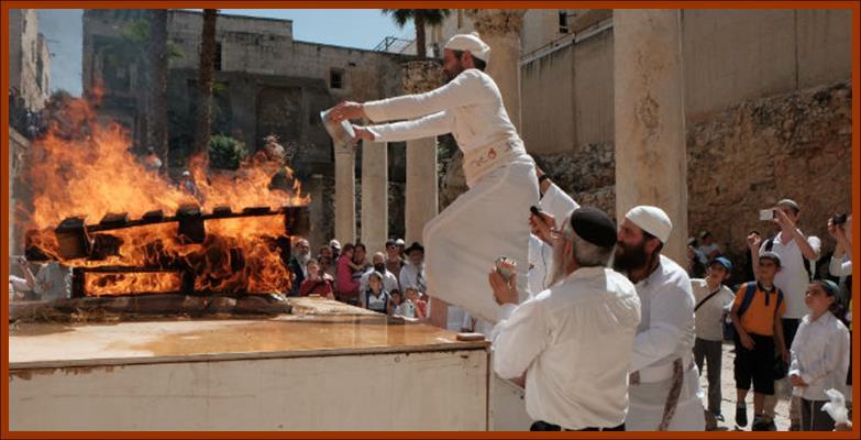 Rabbi Kahane offering Pesach Barley