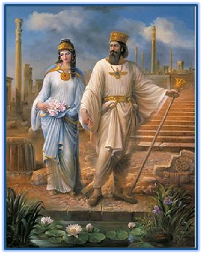 King Cyrus the Great, the Persian Shah and his Jewess wife, Queen Esther