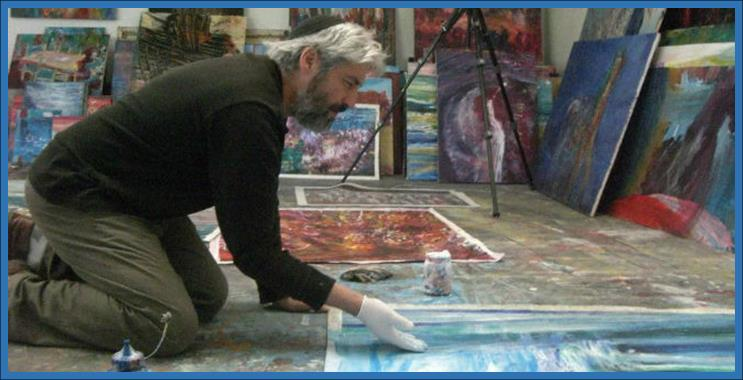 Jewish artist Yoram Raanan at his Art Studio (2)