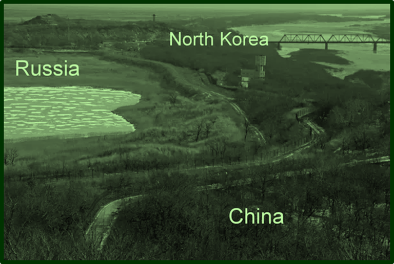 Borders of China  Russia and North Korea